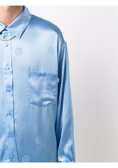 Light blue logo-jacquard satin shirt - men  MARTINE ROSE | M428HRMR061