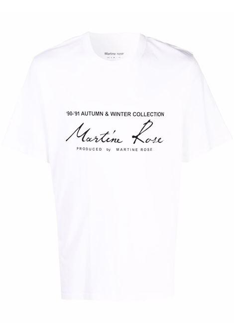 T-shirt a girocollo con logo a contrasto in bianco - uomo MARTINE ROSE | M603JCMR001