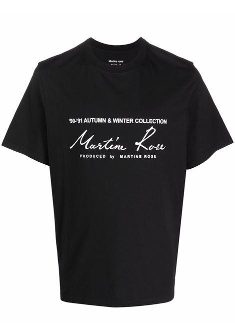 T-shirt a girocollo con logo a contrasto in nero - uomo MARTINE ROSE | M603JCMR009