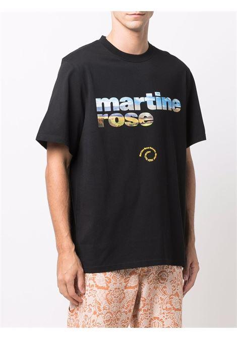 T-shirt a girocollo con logo a contrasto in nero - uomo MARTINE ROSE | M603JGMR009