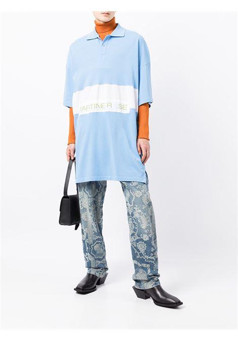 Polo oversize in blu e bianco - uomo MARTINE ROSE | M921UOMR063