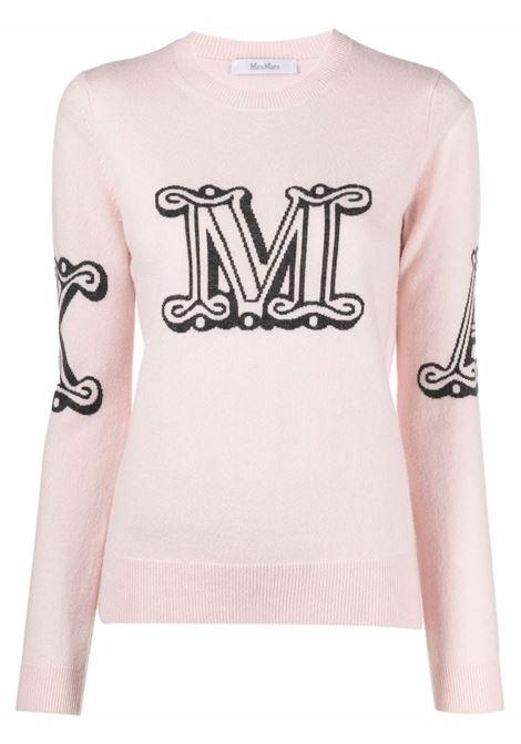 Intarsia logo jumper in blush pink - women MAXMARA | Sweaters | 13660119600009