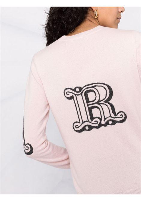 Intarsia logo jumper in blush pink - women MAXMARA | 13660119600009