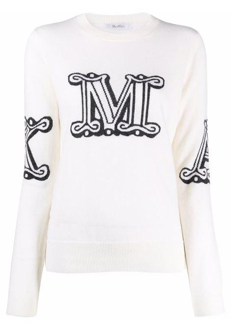 Intarsia logo jumper in blush white - women MAXMARA | Sweaters | 13660119600010
