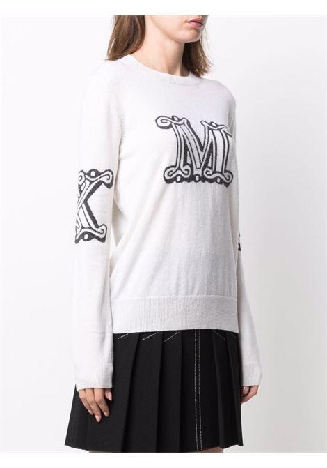 Intarsia logo jumper in blush white - women MAXMARA | 13660119600010