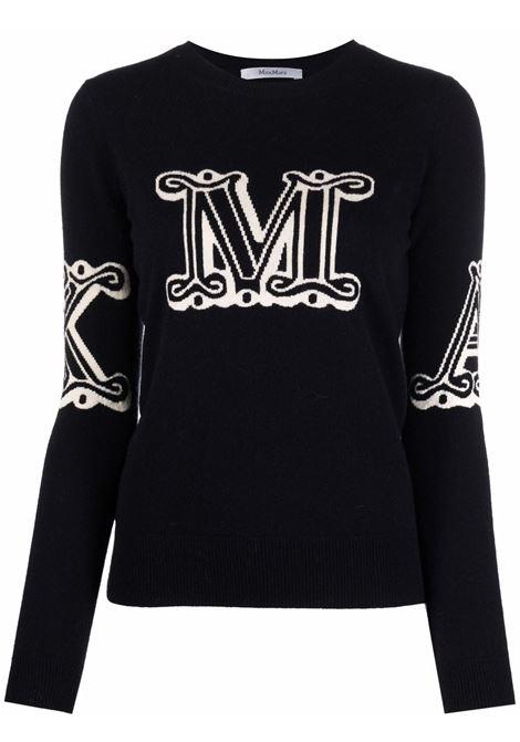 Kuban intarsia logo jumper in black - women  MAXMARA | 13660119600014