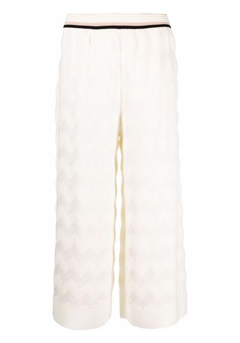 White zigzag-pattern cropped trousers - women  MISSONI | MDI00361BK00ZE14300