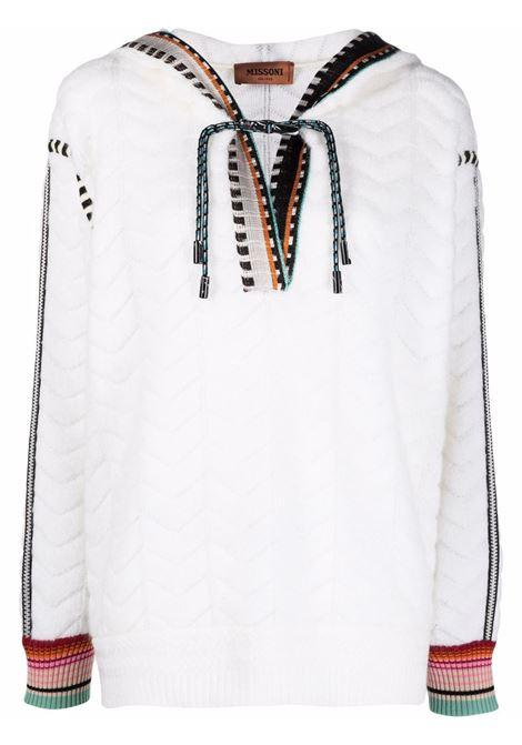 White contrast-trim zigzag-pattern jumper - women  MISSONI | MDN00607BT003C14300