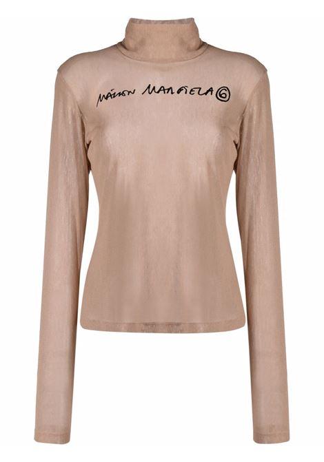 Nude logo-print roll neck top - women MM6 MAISON MARGIELA | Top | S52NC0266S23954121