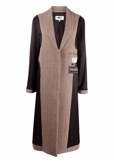 Black and beige checked panelled coat - women  MM6 MAISON MARGIELA | S62AA0042S54207001F