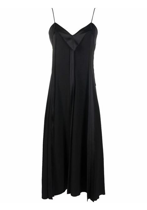 V-neck sleeveless midi dress in jet-black - women  MM6 MAISON MARGIELA | S62CT0142S54213900