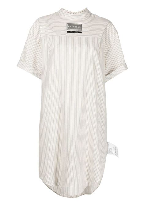 Striped logo-patch shirt dress in white and grey - women  MM6 MAISON MARGIELA | S62CT0154S54216001F