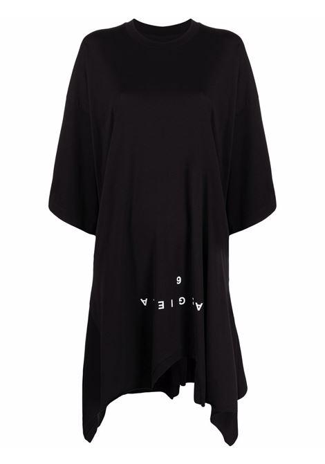 Black logo-print draped dress - women  MM6 MAISON MARGIELA | S62CT0167S23955900