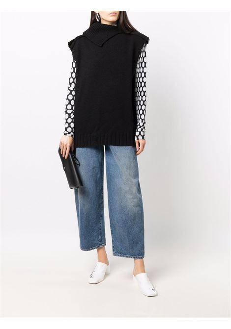 Black asymmetric sleeveless knitted vest - women  MM6 MAISON MARGIELA | S62GP0040S17856900