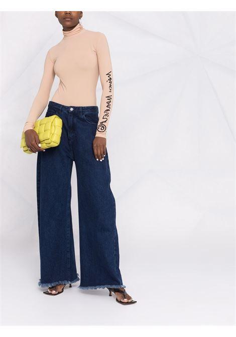 Nude logo-print roll neck body - women  MM6 MAISON MARGIELA | S62NA0049S20518121