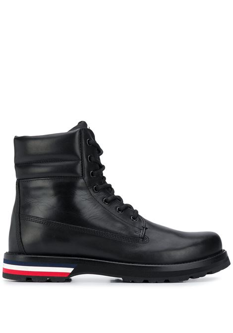 Logo-patch lace-up boots in black - men  MONCLER | 4F7000002S71999