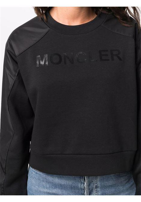 Felpa crop con logo in nero - donna MONCLER | 8G00002809LC999
