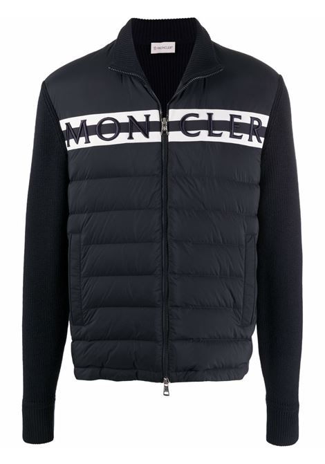 Logo-embroidered quilted jacket in navy blue - men  MONCLER   9B00001M1131742