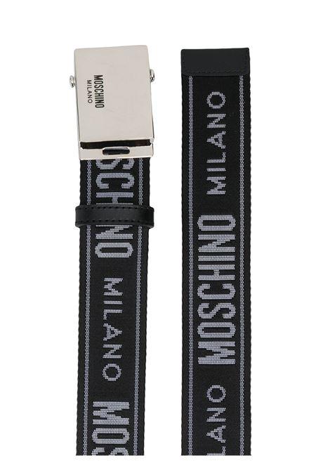 Cintura con fibbia in nero e argento - uomo MOSCHINO   A800782091555