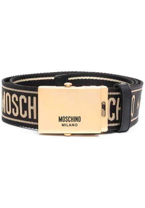 Cintura con fibbia in nero e oro - uomo MOSCHINO   A800782092555