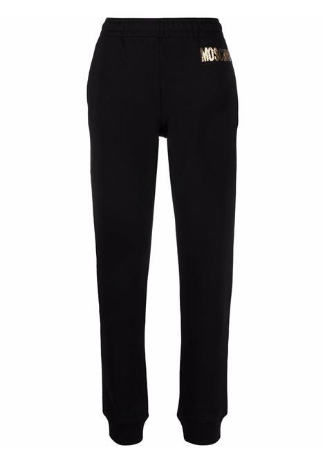 Pantaloni sportivi con stampa in nero - donna MOSCHINO | A032354273555