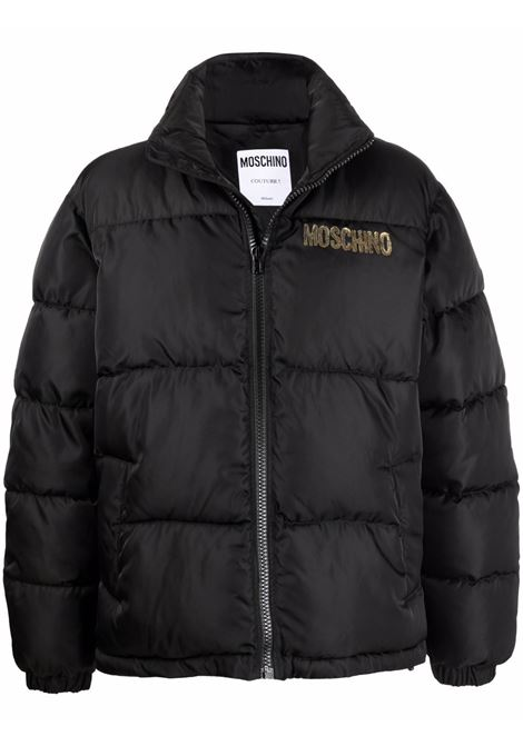 Quilted down logo-print jacket in black - men  MOSCHINO | A062552153555