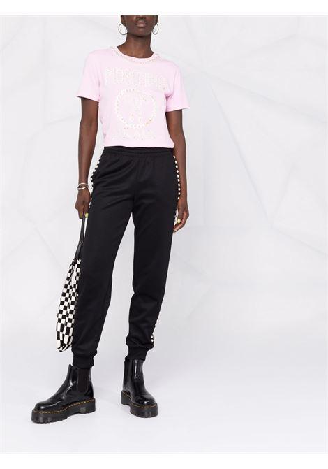 T-shirt con decorazione in rosa - donna MOSCHINO | A070654402224