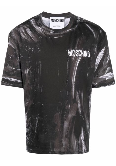 Paint-effect short-sleeve T-shirt in black and white - men  MOSCHINO | A070852404555