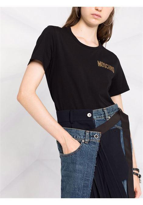 T-shirt con stampa in nero - donna MOSCHINO | A070854402555