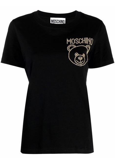 T-shirt teddy con borchie nero - donna MOSCHINO | A071355403555