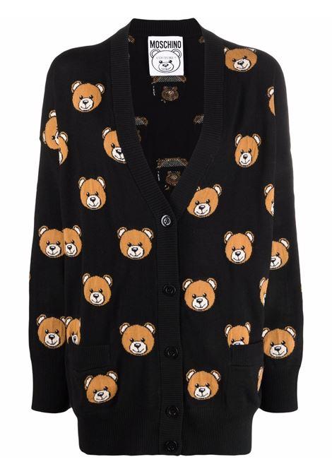 Cardigan teddy bear in nero - donna MOSCHINO | A090955082555