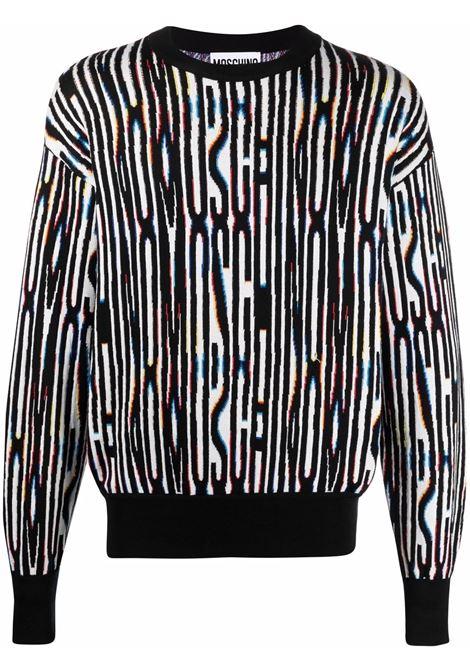Maglione con logo intarsiato all-over - uomo MOSCHINO | A091670011888