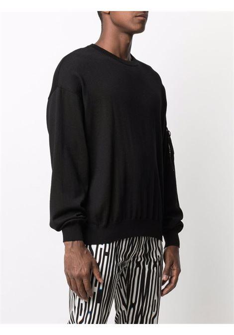 Felpa con tasca sulla manica e portachiavi con logo nero - uomo MOSCHINO | A09277000555