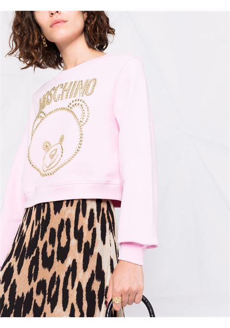 Studded teddy cropped sweatshirt pink - women MOSCHINO | A172355271224