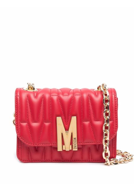 M-plaque quilted crossbody bag in red - women  MOSCHINO   A74298002112