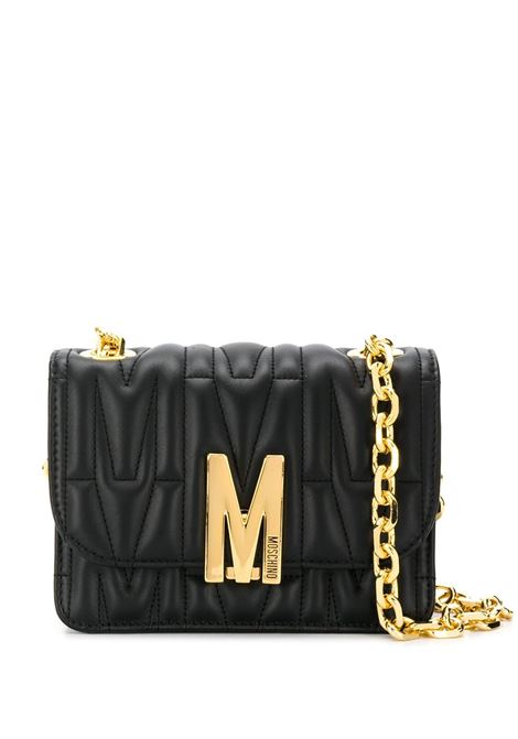 M-plaque quilted crossbody bag in black - women  MOSCHINO   A742980021555