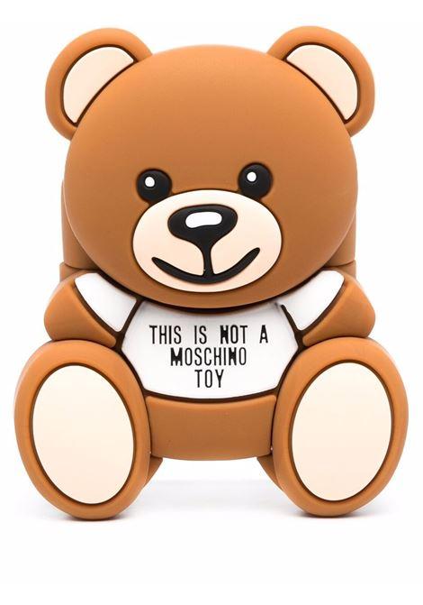 Teddy Bear motif AirPod case in brown - women  MOSCHINO | A778183051888