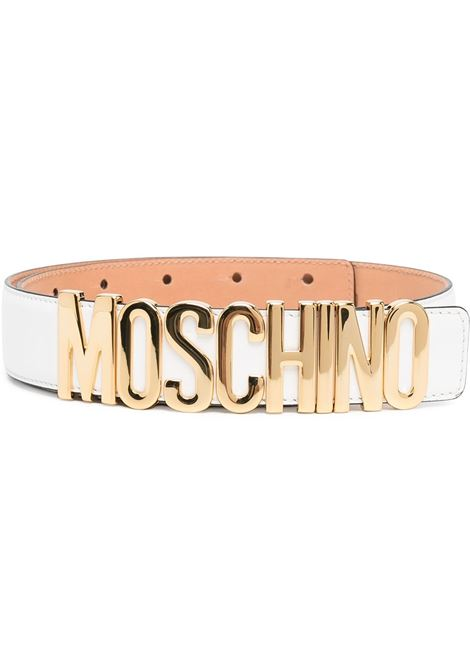Logo-lettering adjustable belt in white - women  MOSCHINO   A800780011
