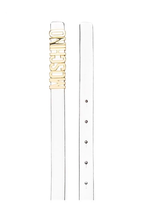 Logo-lettering buckle belt in white - women  MOSCHINO   A800880011