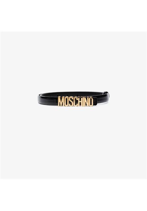 Cintura con fibbia con logo in nero - donna MOSCHINO   A80108007555