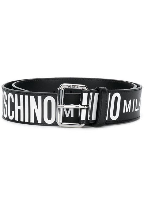All-over logo belt in black - women  MOSCHINO   A802280101555