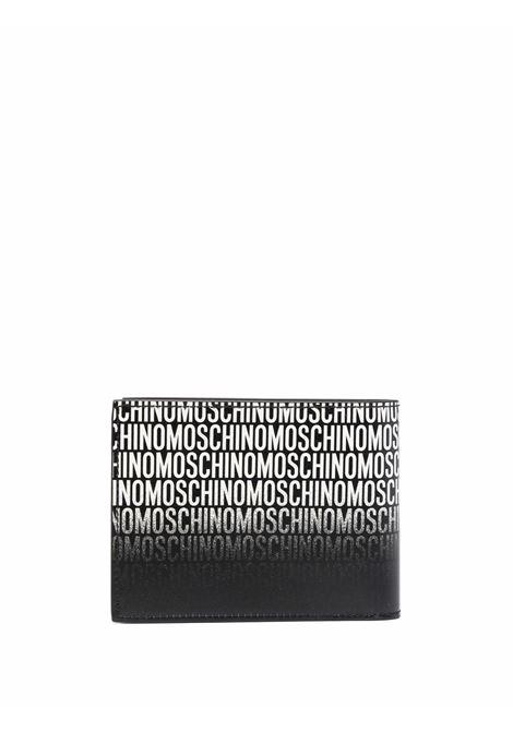 Portafoglio in pelle con stampa in nero - uomo MOSCHINO | A812080131555