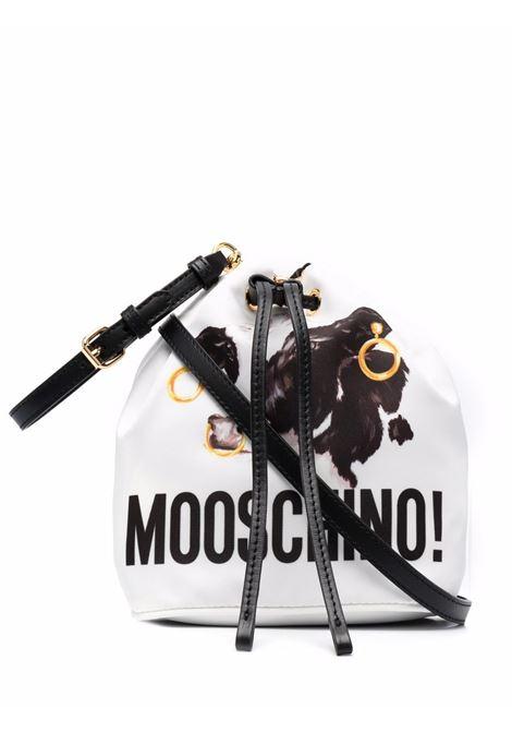 Cow-print bucket bag in white/black - women  MOSCHINO | A844282231001
