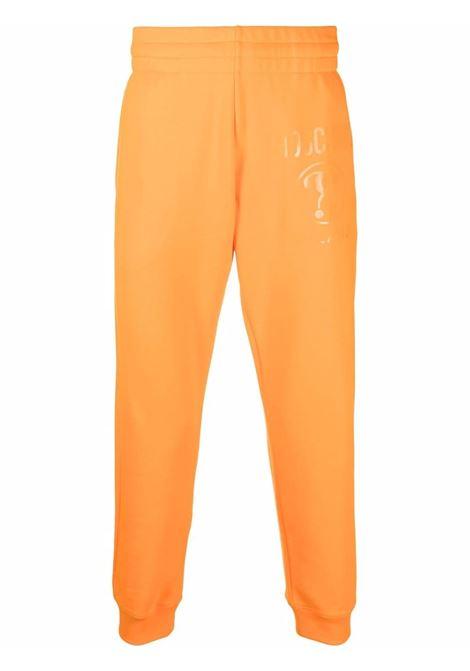 Pantaloni sportivi con stampa arancioni - uomo MOSCHINO | J0321702763