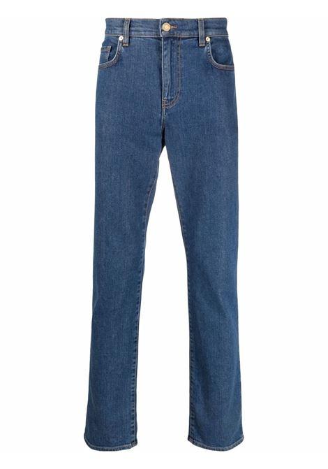 Jeans dritti con logo in blu - uomo MOSCHINO | J03425223343