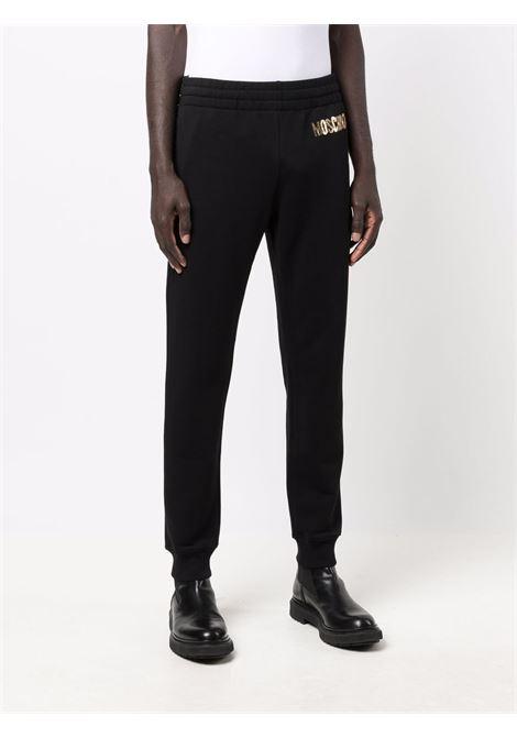 Pantaloni con logo 3d in nero - uomo MOSCHINO | J035152275555
