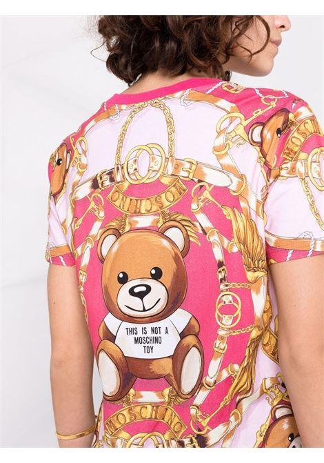T-shirt Teddy Bear bianco e multicolore - donna MOSCHINO | J070355407217