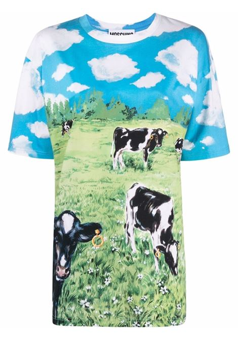 T-shirt oversize con stampa in verde, blu e bianco - donna MOSCHINO | J070554401888