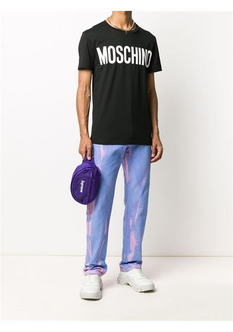 T-shirt con logo a contrasto sul davanti nero - uomo MOSCHINO | J070570401555