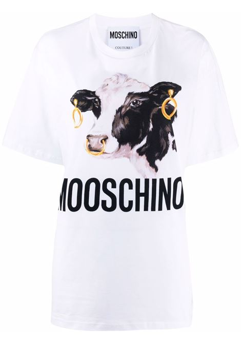 T-shirt con stampa in bianco - donna MOSCHINO | J070754401001